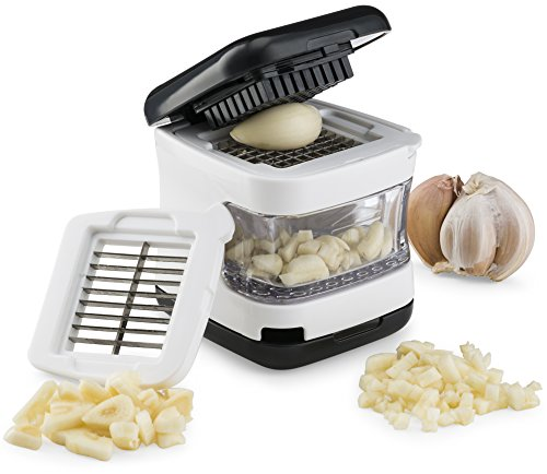 Kitchen Gizmo, Garlic Press- Innovative 3-in-1 Garlic Cube, Slicer, Crusher and Dicer - Easily Slice or Cube Garlic Cloves Without The Mess