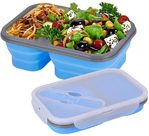 Faltbare Premium Frischhaltebox Aufbewahrungsbehälter 2 Bereiche Gabel-Löffel-Kombination im Deckel BPA-freies Material für Lebensmittel einziehbare zusammenklappbare Bento Box unterteilt Lunchbox