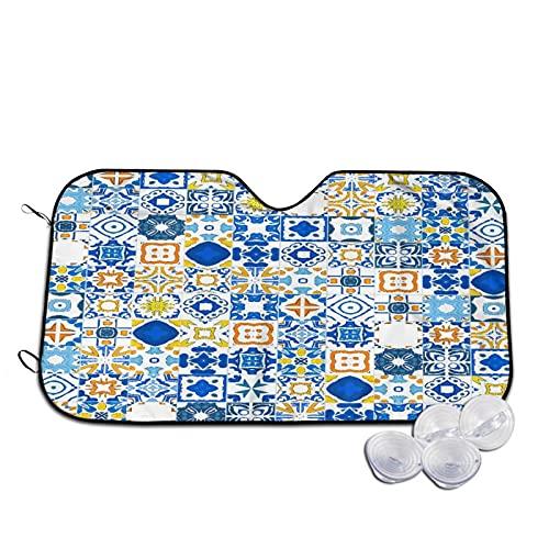 Parasol para Coche,Mosaico Azulejo Portugués Efecto Arabesco Med,Parabrisas de prevención de Calor Parasol Protector de Visera de Rayos UV 55'X29.9'