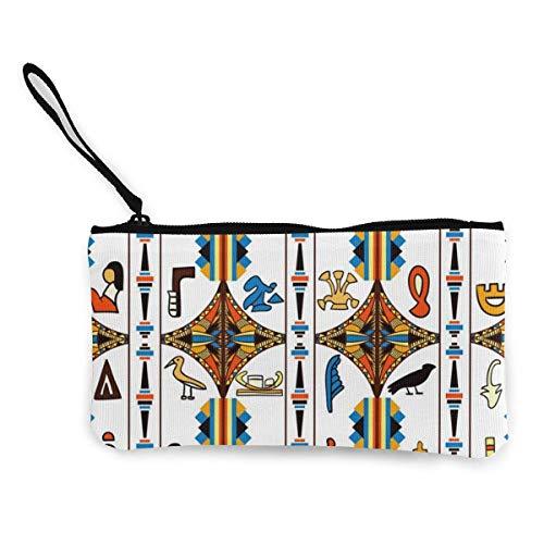 Egipto Adorno colorido con jeroglíficos Lindo monedero de lona con personalidad de moda con cremallera Bolsa de maquillaje con correa para la muñeca Bolsa de teléfono en efectivo 8.5 x 4.5 pul