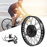 Kit de motor de bicicleta eléctrica, aleación de aluminio 48V 1500W 26x4.0 pulgadas Kit de rueda de motor de motor de conversión de bicicleta eléctrica con medidor LCD(#4)