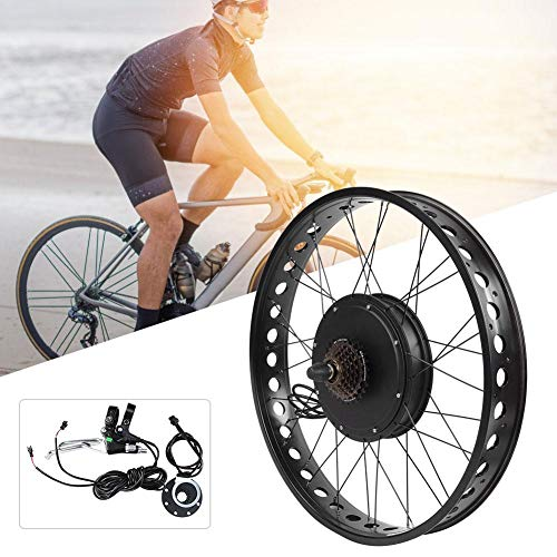 Electric Bike Motor Kit, Aluminium Alloy 48V 1500W 26x4.0 Inch Electric Bicycle Conversion Engine Motor Wheel Kit with LCD Meter(#4)