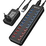 WENTER Hub USB 3.0 Alimentato 11 in 1, 7 Porte USB 3.0 SuperSpeed e 4 Porte Quick Charge LED Indicatori con Adattatore 12V/3A per Macbook, Smartphones, Nero