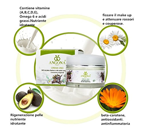 ANGONA Orgánico Crema Facial con Leche de Burro y Aceite de Oliva BIO Certificado 50ml -Blanqueamiento , Hidratante- Producto italiano