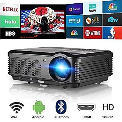 Projector Bluetooth WiFi Android 4400 Lumen LCD LED Multimedia Video Projector Home Theater Support HD 1080P Airplay HDMI USB RCA VGA AV for Gaming Fire TV Stick Smartphone DVD Laptop Outdoor Movie