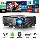 Bluetooth WiFi Senza Fili Schermo Domestico Proiettore 4400 Lumen Alta Luminosità Supporto HD 1080P...