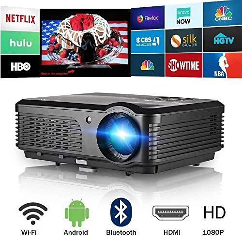 Bluetooth WiFi Senza Fili Schermo Domestico Proiettore 4400 Lumen Alta Luminosità Supporto HD 1080P Videoproiettore con HDMI/USB/TV/Audio/AV per Fuori Dentro Divertimento Film Gaming