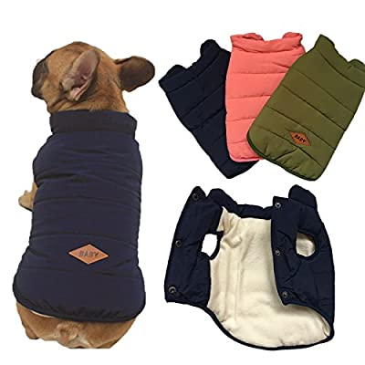 Tineer Hooded Pet Clothing Cute Pet Clothing Warm Hooded French Bulldog Warm Vest Suit (XXL, Blue)