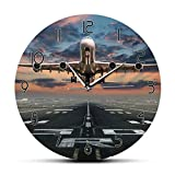 gongyu Avión despegando Piloto de aviación Reloj de Pared Puesta de Sol Avión Césped Aeropuerto Avión Obra de Arte Aviador Decoración del hogar Reloj de Pared silencioso