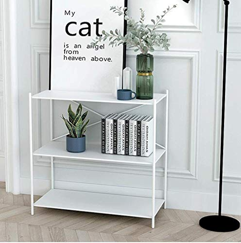 GRXXX Table 3-Tier Multifunctional Shelving,Iron Storage Shelf Rack, Hall Console Table for Bathroom Living Room Kitchen Holds Up To 200 Lb, Sofa Side Table,White,S