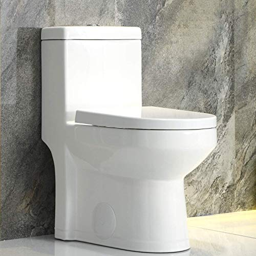 HOROW HWMT-8733U Small 1-Piece Toilet, Dual Flush Toilet Compact Bathroom, Modern Tiny Mini Space Saver Commode Water Closet With Soft Closing Toilet Seat, 12'' Rough-in