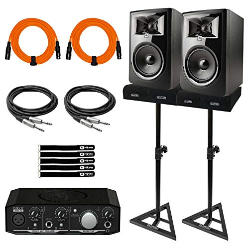 New JBL 306PMKII 6 Studio Monitor Speakers w 2x2 Audio Interface Home Recording Pk