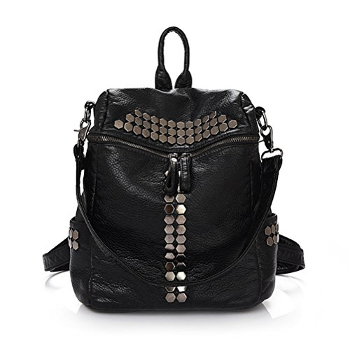 Honeymall zaino borsa Donna,Rivet Pelle Lavato,Black (nero)