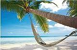 Fotomural no Tejido Hamaca de coco en la playa Fotomural para Paredes Mural Vinilo decorativo 200x140cm decoración comedores, Salones, Habitaciones