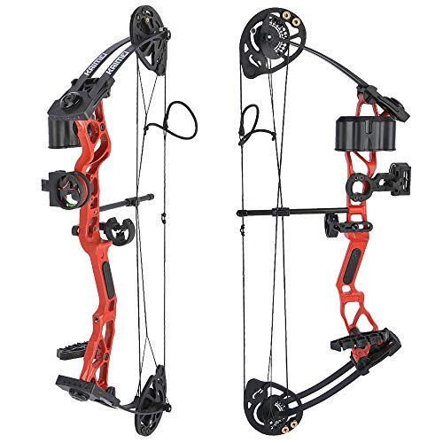 SHARROW Youth Compound Bow Archery Set 16 28lbs Adjustable Junior Compound Bow and Arrow Set Children Bow with All Accessories for Kids Beginners Outdoor Shooting Training Type 1Red