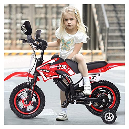 MPUOYHK Bicicleta para niños de 12 pulgadas, bicicleta de montaña de acero altas de carbono para niños, con rueda de asistencia Flash, rueda cómoda, silla de silla de silla de seguridad, para niños de
