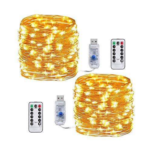 Batterie Lichterketten, 4 Stück 10M 100 LEDs Batteriebetrieben Lichterkette Außen und Innen DIY Dekoration Kupferdraht 8 Modi für Weihnachten, Garten, Hochzeit (Gelb-10m)