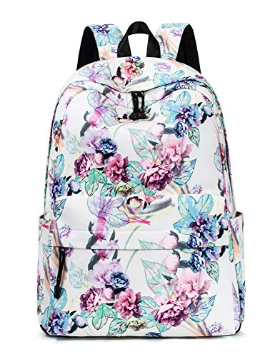 Leaper Retro-Look mit Blumen Kinderrucksack mädchen Schulrucksack für Schule Uni Freizeit Large Weiß