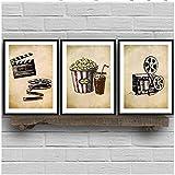 Pittura su Tela Arte Cinema Arte Vintage Pittura Immagine a Parete Popcorn Film Clapper Stampa Home Cinema Decorazione retrò 3 Pezzi 60x80 cm Senza Cornice