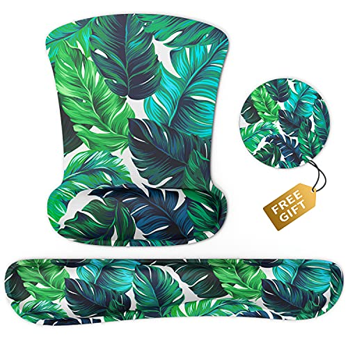 Ergonomic Hawaii Palm Leaves Mouse Pad Wrist Support & Keyboard Set Memory Foam Non-Slip Rubber Base Cute Mouse Mat Coaster for Home,Computer,Office Easy Typing and Relieve Wrist Pain