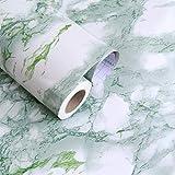 JiuFei Adhesivo Papel Marmol para Muebles PVC Marmol Impermeable y Aceite Impermeable Papel Pared para la Cocina Encimera Oficina de Baño Mármol Verde, 60 X 200cm