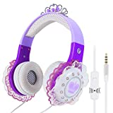 VCOM Kids Headphones, Wired Princess Headset Adjustable Stereo Music Earphones with Microphone & Volume Limiting Feature, 3.5mm Audio Jack for Children Toddler Girls Kindergarten Home Travel (Purple)