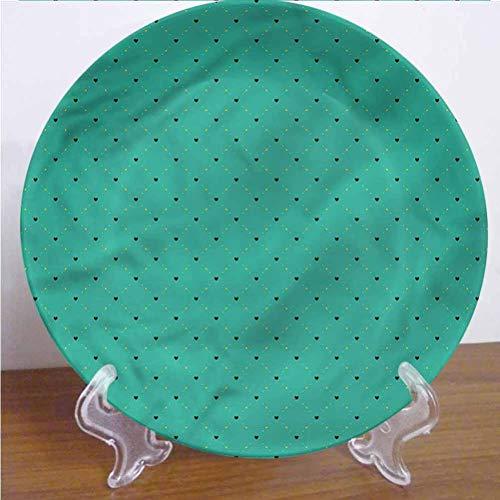 Channing Southey Plato decorativo de cerámica esmeralda, 20,3 cm, diseño de corazones pequeños a cuadros de cerámica, accesorio decorativo para pasta, ensalada, fiesta, cocina, decoración del hogar