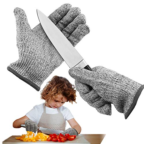 Schnittsichutz Handschuhe,Schnittsichere Handschuhe für Kinder,Leistungsfähiger Level 5 Schutz,Schnittsichere Handschuhe zum Kochen,Schnitzen und Gärtnern(XS)