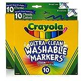 Crayola Ultraclean Broadline Classic Washable Markers (10 Count),...