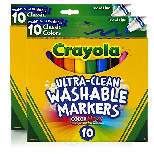 Crayola Ultraclean Broadline Classic Washable Markers (10 Count), (Pack of 2)