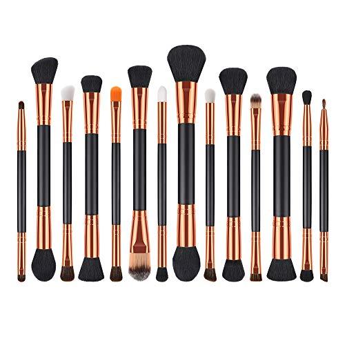 Kentop Pinceaux Maquillage Cosmétique Professionnel Cosmétique Brush Beauté Maquillage Brosse Makeup Brushes Double tête Noir d'or Lot de 14