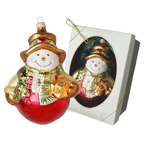 Krebs Glas Lauscha pupazzo di neve con sciarpa, Natale ciondolo