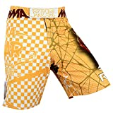 ROAR MMA Boxing Shorts Mixed Martial Art Muay Thai BJJ Grappling UFC Fighting (Small, Pro Series Yellow)
