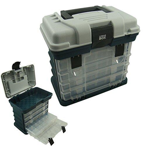 Lunar Box IG20333 Estuche 4 Compartimentos Ajustables Cajas de Almacenamiento, Caja de Aparejos de Pesca, Unisex Adulto, Gris y Verde, Talla única