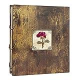 UMI Amazon Brand Álbum de Fotos con Tapa de Madera y Flor Seca para 500 Fotos de 10 x 15 cm, Ideal para Bodas o el Día de los Enamorados