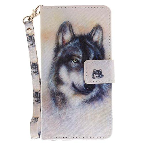 ISAKEN Compatibile con LG X Power Custodia, Bookstyle Wallet Cover Flip Portafoglio Anti Slip Case Antiurto in Pelle PU con Supporto di Stand/Strap/Carte Slot/Chiusura - Lupo