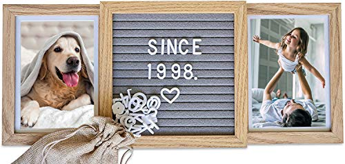 Picture Frame with Genuine Felt Letter Board (Standard, Natural Oak) Best Friends...