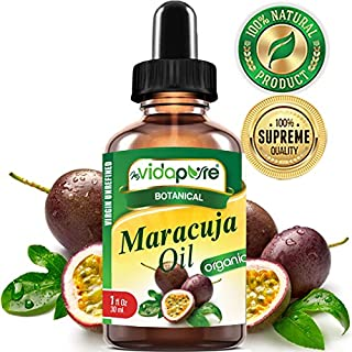 myVidaPure Organic MARACUJA OIL Passion Fruit WILD GROWTH. PURE VIRGIN UNREFINED RAW 1 Fl.oz.- 30 ml. For Skin, Face, Hair, Lip and Nail Care.