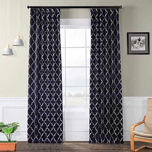 HPD Half Price Drapes BOCH-KC40F-96 Blackout Room Darkening Curtain (1 Panel), 50 X 96, Seville Navy