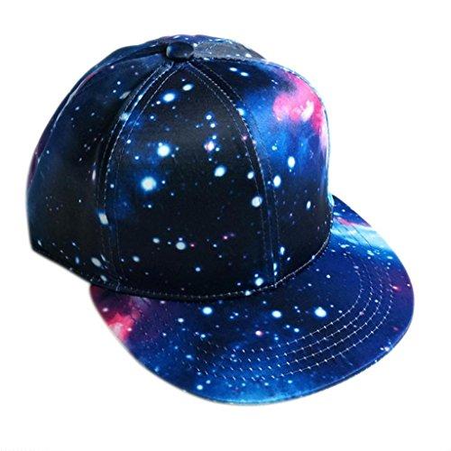 Resplend Unisex Hip Hop Hut Einstellbar Snapback-Kappe Beiläufig Baseball Cap Outdoor Sternenhimmel Visier Mütze (Blau)
