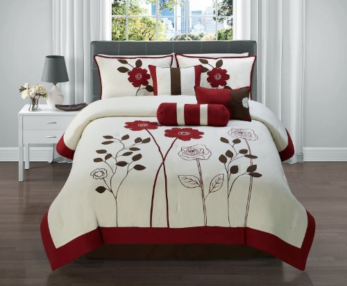 Price See 7 Pc Red Brown And Tan Floral Comforter Set