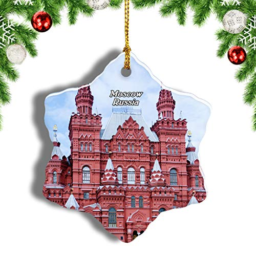 Weekino Russia Red Square Moscow Christmas Ornament Travel Souvenir Tree Hanging Pendant Decoration Porcelain 3' Double Sided