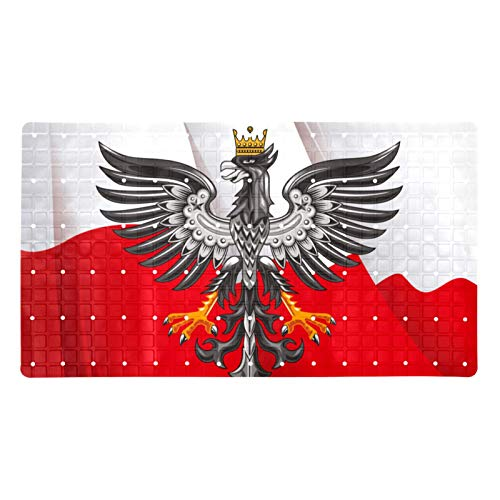 Ameolone Increíble alfombrilla de ducha horizontal con bandera de polaco de 70,9 x 39,9 cm con ventosas y agujeros de drenaje