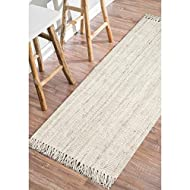 """nuLOOM Hand Woven Chunky Natural Jute Farmhouse Runner Rug, 2' 6"""" x 8', Off-white"""