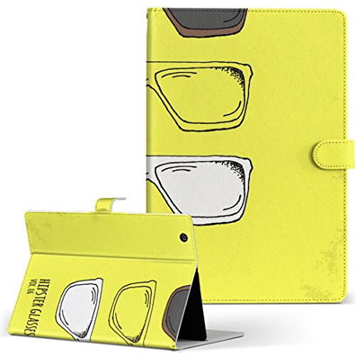 igcase KYT33 Qua tab QZ10 キュアタブ quatabqz10 手帳型 タブレットケース カバー レザー フリップ ダイアリー 二つ折り 革 直接貼り付けタイプ 012769 サングラス 黄色 英字