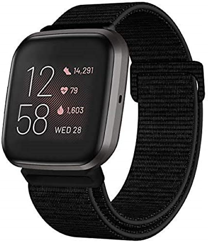 HAPAW Nylon Bands Compatible with Fitbit Versa/Versa 2, Soft Adjustable Breathable Sport Replacement Strap Band Accessories Wristband Women Man for Versa Smartwatch