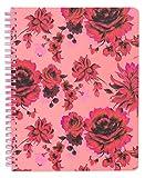 Ban.do Mini cuaderno espiral de dibujo floral rosa y rojo, 9 x 7 pulgadas con bolsillos y 160 páginas a rayas, popurri