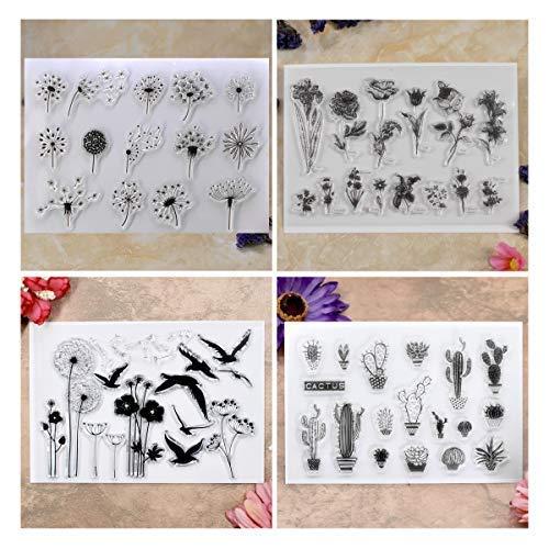 Kwan Crafts 4 hojas diferentes estilo diente de león Cactus flores transparente sellos para hacer tarjetas decoración y DIY Scrapbooking