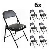 Stalwart - 6er Set stabile Klappstühle Faltstühle Stuhl Metall in schwarz PVC in schwarz, 6...