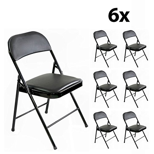 Stalwart - 6er Set stabile Klappstühle bis 130 kg belastbar Faltstühle Stuhl Metall in schwarz PVC für Gäste und Veranstaltungen, 6 Stühle